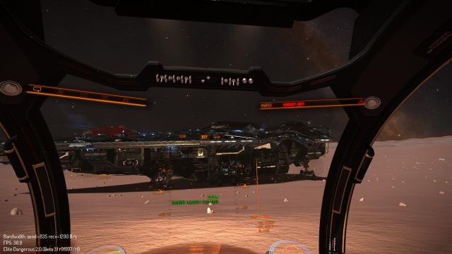 """Anaconda damage model."" Screenshot shows an Anaconda, one of the largest player-controllable ships in the game, with damage. Clearly CMDR Harry Potter has been dueling."