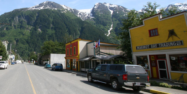 Main Street in Stewart, British Columbia.