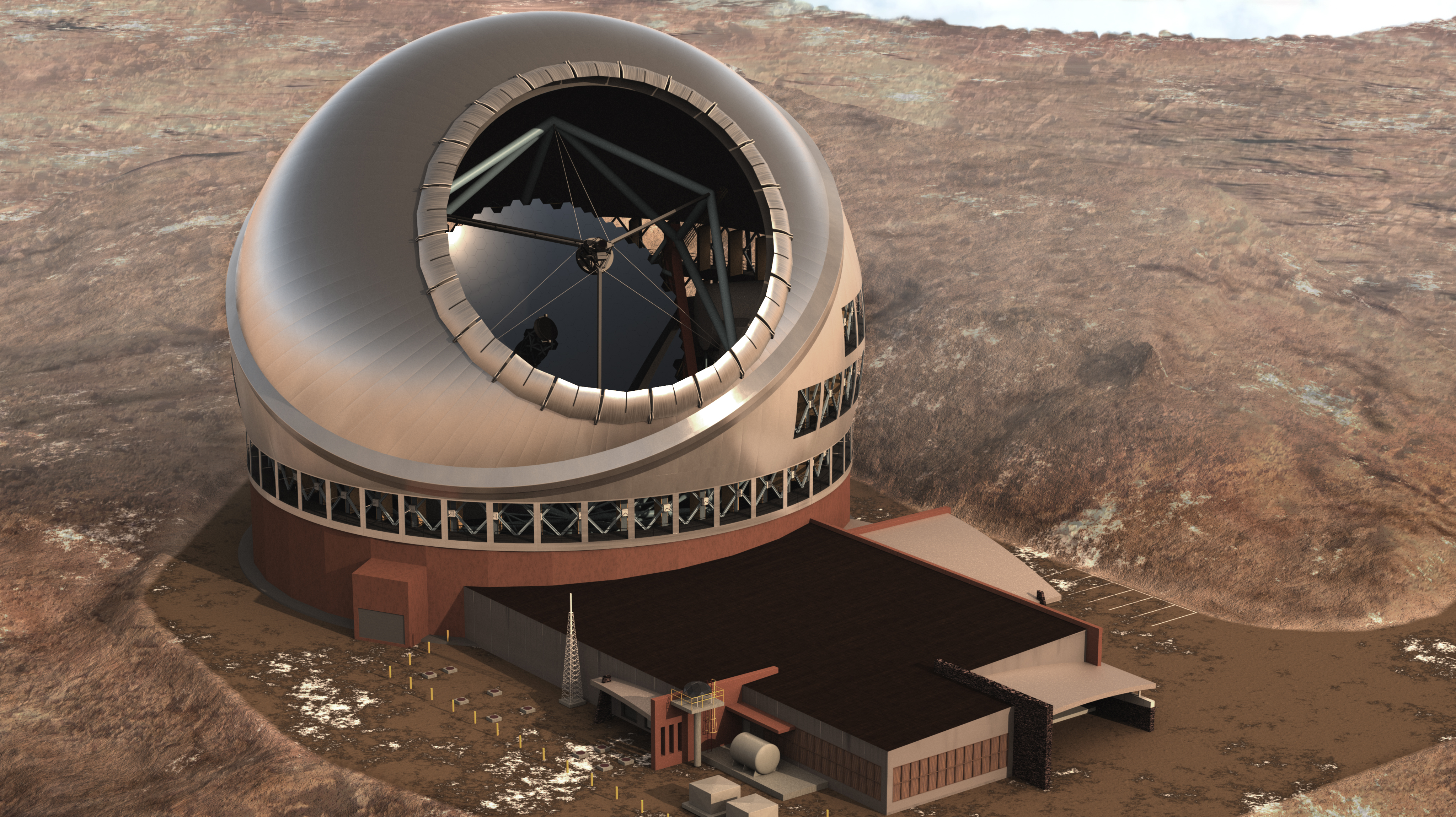 An artist's illustration of the proposed Thirty Meter Telescope on Mauna Kea.