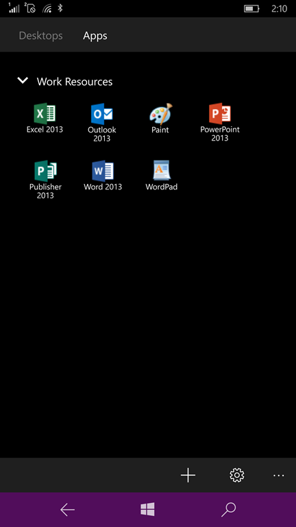 The app can access published apps as well as desktops.