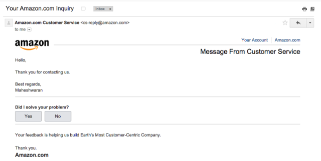 Weird, I didn't contact Amazon support.