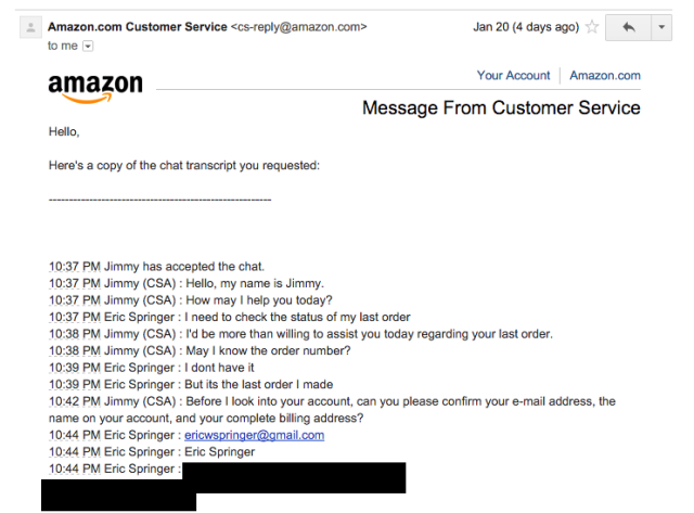 Using the address they got the last time from Amazon.