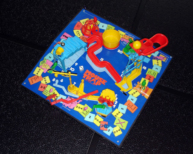 This board's missing a few pieces—just like EVERY danged copy of this board game, since it was impossible for kids to maintain this thing neatly.