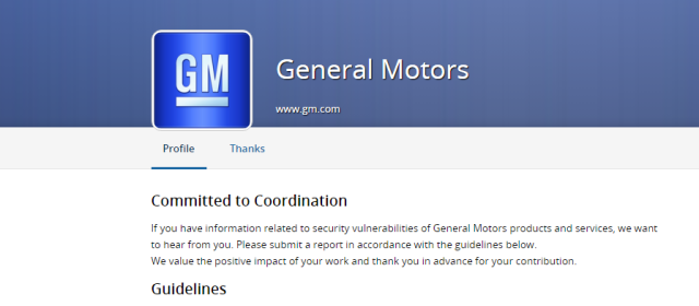 GM's vulnerability coordination portal on HackerOne.