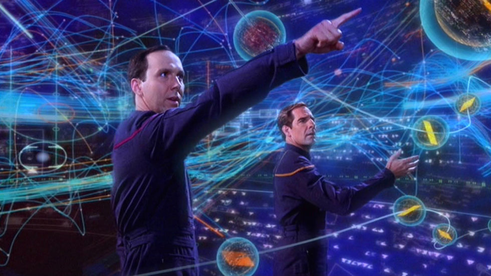 A time traveler from the future shows Captain Archer a holographic map of the various timelines, in his Temporal Observatory.