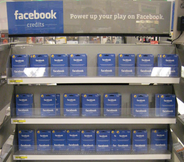 Facebook credits for sale in Target.