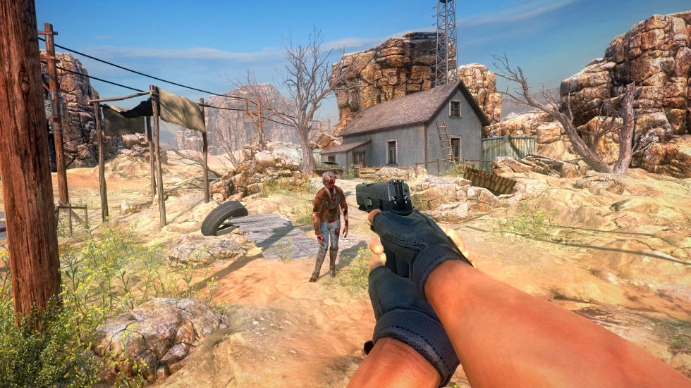 Sadly, this <em>Arizona Sunshine</em> screenshot lacks the twin-gun, one-per-hand joy of the game's default blasting.