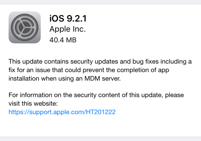 iOS 9.2.1 update arrives with security and MDM fixes [Updated]