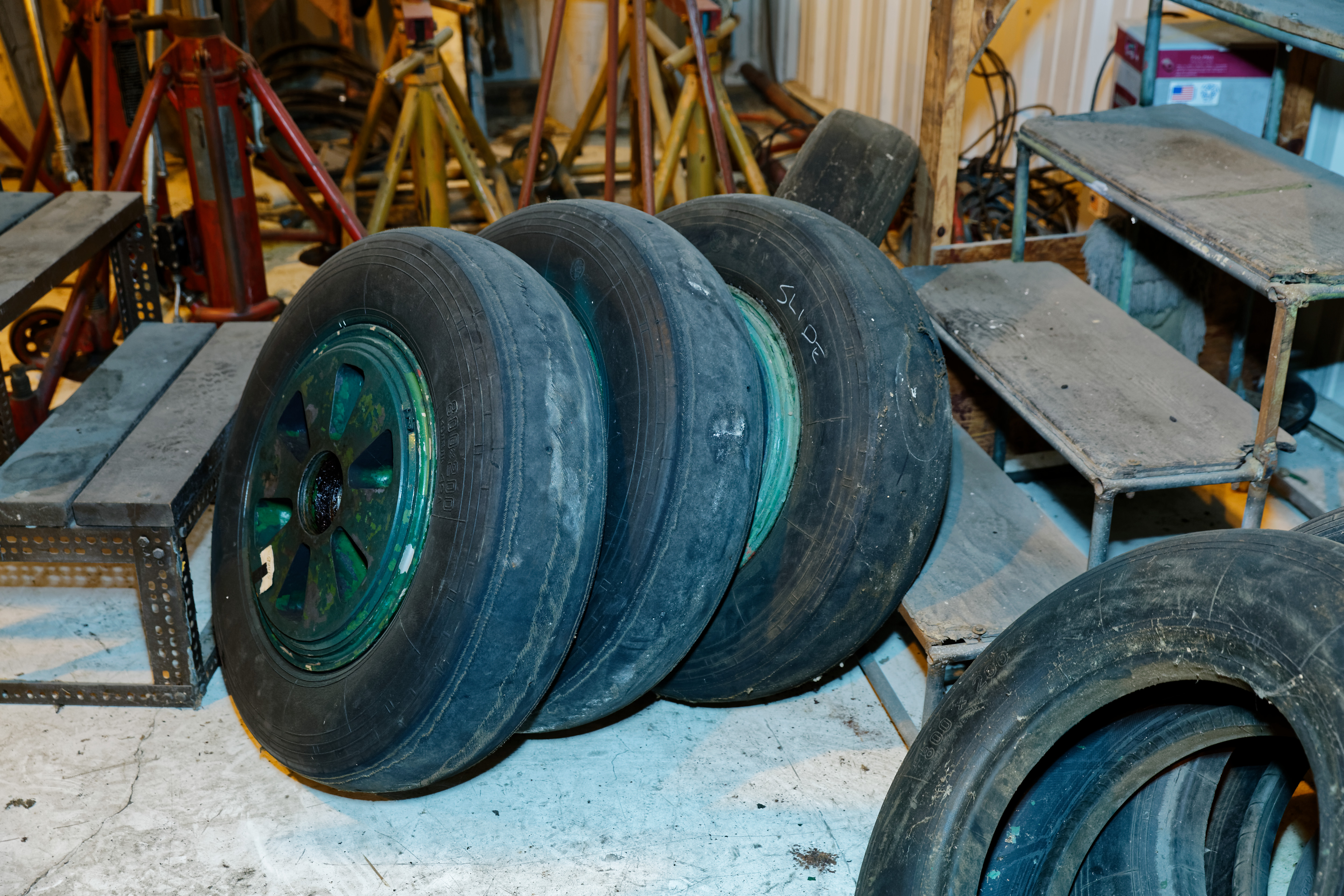 Worn-out MiG tires. Spares are an expensive problem—Sharpe had to have several sets custom-manufactured by a Chinese rubber OEM.