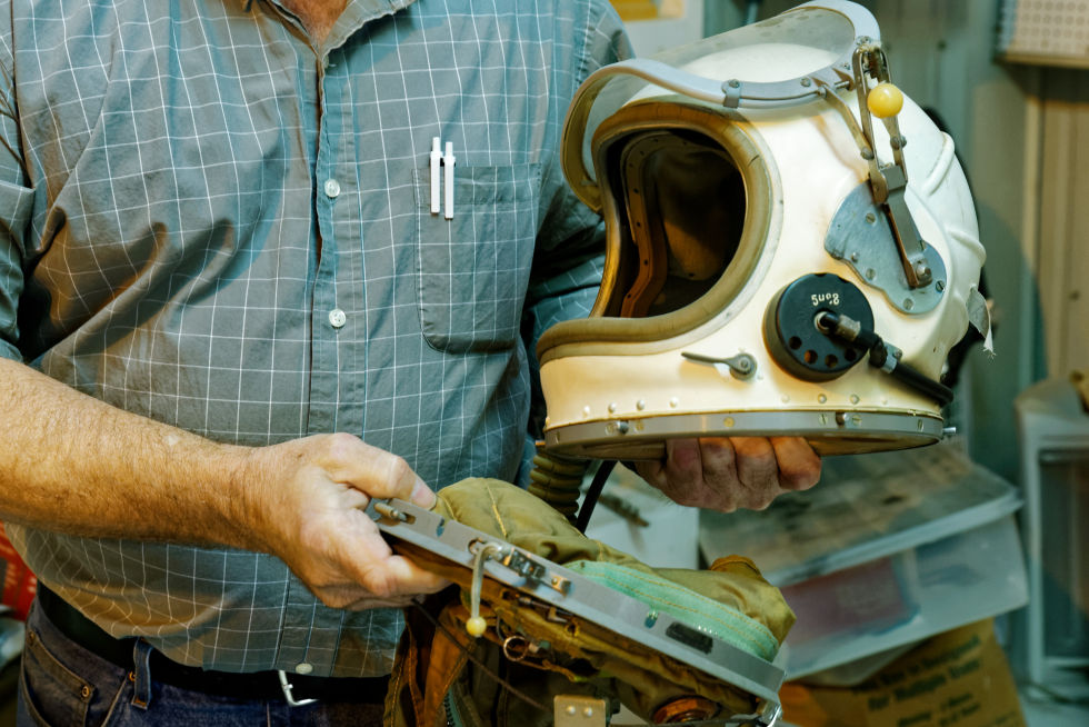 A genuine Soviet pressure suit, worn by MiG-21 pilots when pushing the aircraft to its service ceiling of 58,000 feet (17,800 meters).
