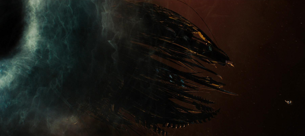 Nero's ship, the Narada, arrives in the past via black hole, confronted by the Starship Kelvin.