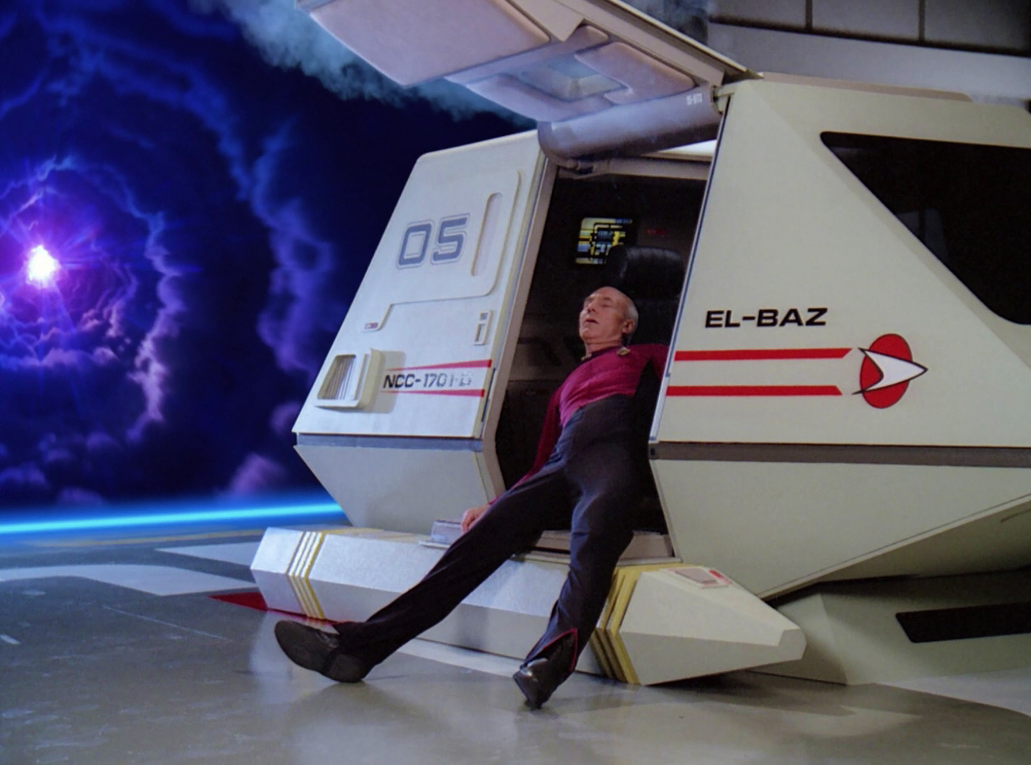 Picard stuns his future self and makes a different choice, breaking the time loop.