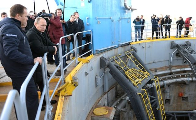 President Vladimir Putin visits the Vostochny Cosmodrome in October 2015.