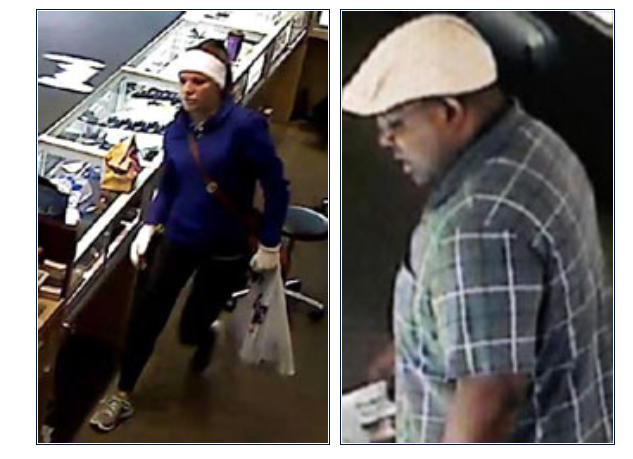 Surveillance video shows two suspects during bank robberies across the US Southeast.