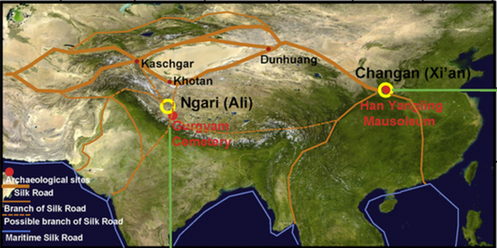 The dotted line across the Tibetan Plateau indicates the probable route taken between Chang'an and the site in Tibet where the second block of tea was found. Routes established during the Tang Dynasty are in solid red, to the north.
