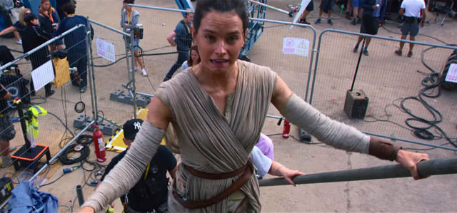Rey is dismayed to find herself on a movie set, instead of on Jakku.