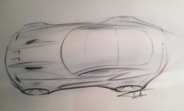 "From Fisker's website: ""Henrik Fisker's initial design rendering for The Force 1, a high-performance automobile debuting on January 12 at 10:05am at the 2016 North American International Auto Show in Detroit."""