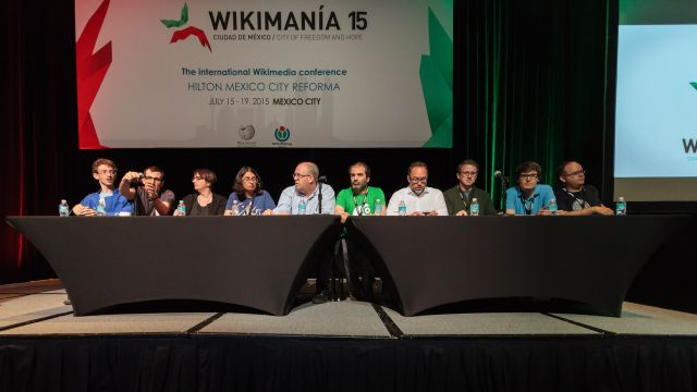 Board of the Wikimedia Foundation in July 2015, at an event in Mexico City.