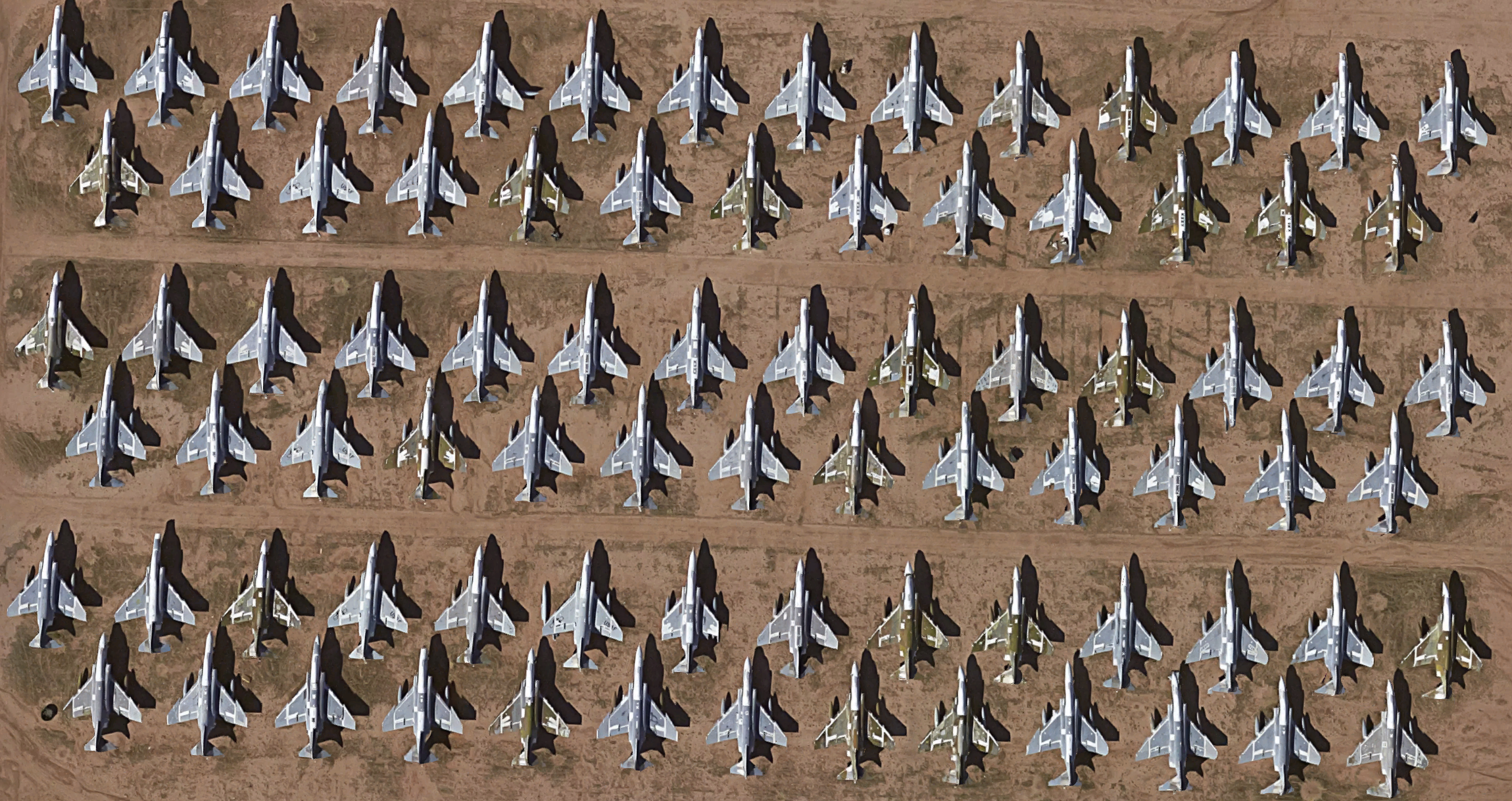 Row upon row of mothballed Phantoms sit at Davis-Monthan. Like the Collings A-4, the F-4 was also rescued from the AMARC boneyard.