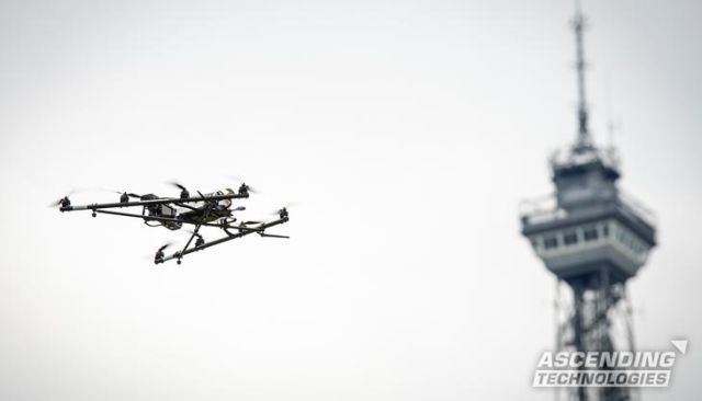 An Ascending Technologies Falcon 8 octocopter drone in flight, with Intel inside.