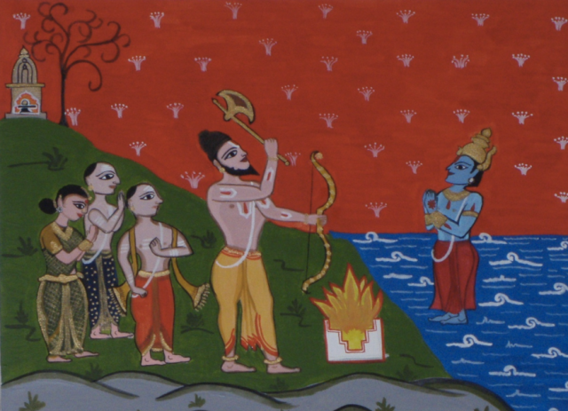 Lord Parshuram with Brahmin settlers commanding Lord Varuna to make the seas recede and allow Brahmins to make their homes in Kerala.