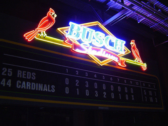 Busch Stadium, home to the St. Louis Cardinals.
