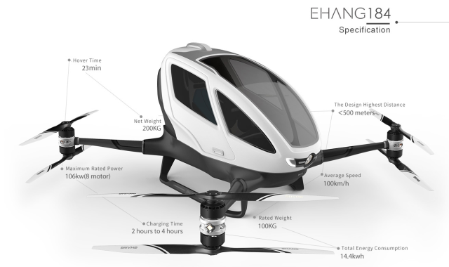 Chinese company unveils world's first passenger drone at CES