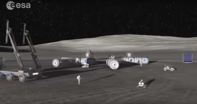 A screen capture from the new ESA video shows a concept of a human lunar settlement.