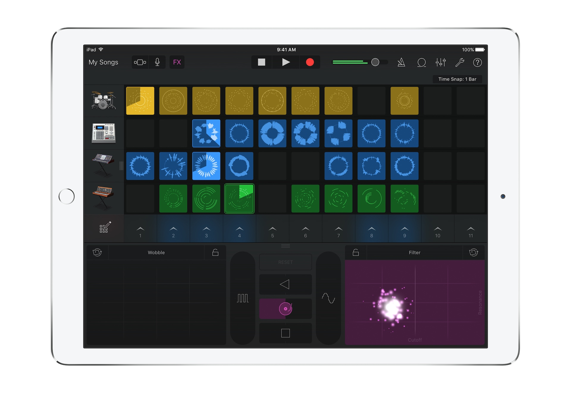"GarageBand 2.1 includes a ""Live Loops"" feature for DJs."