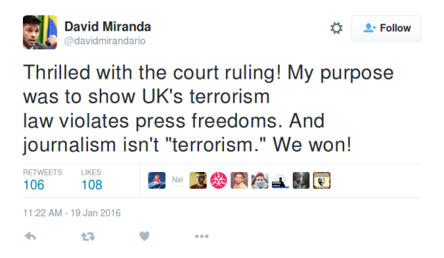 UK terrorism law incompatible with human rights, court rules in Miranda case