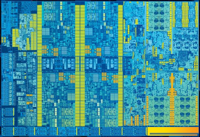 Intel Skylake die shot, built using the 14nm process.