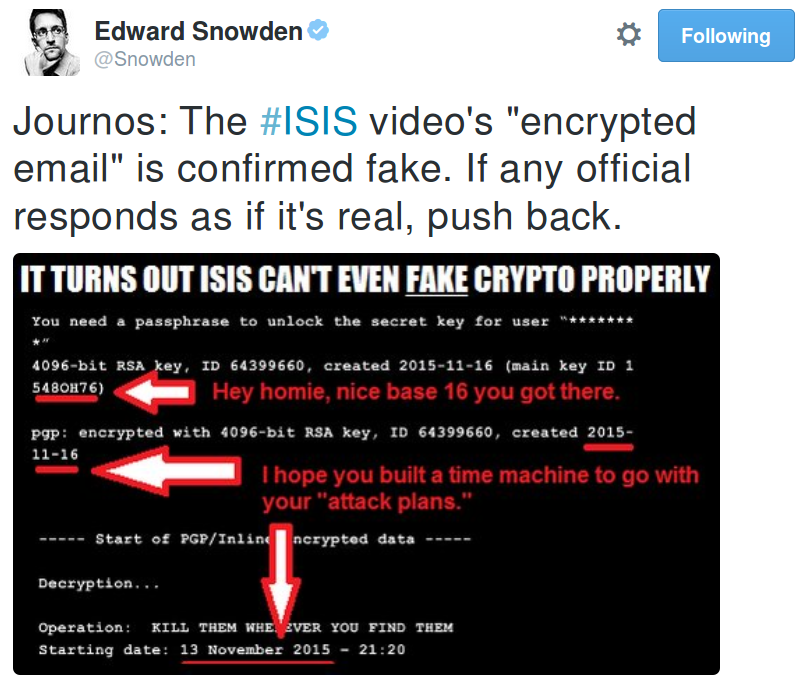 Is the mysterious PGP message in latest ISIS video a threat