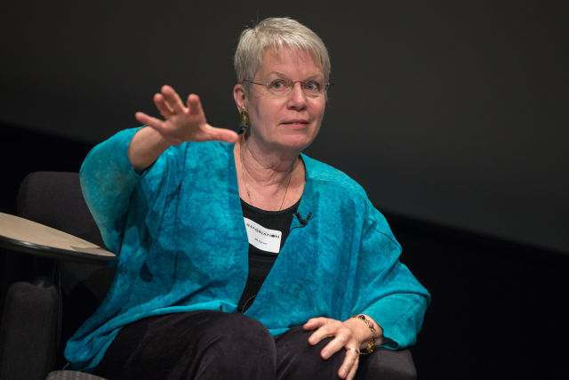 Tarter speaks after a screening of Contact, in 2014, at the Qualcomm Institute.