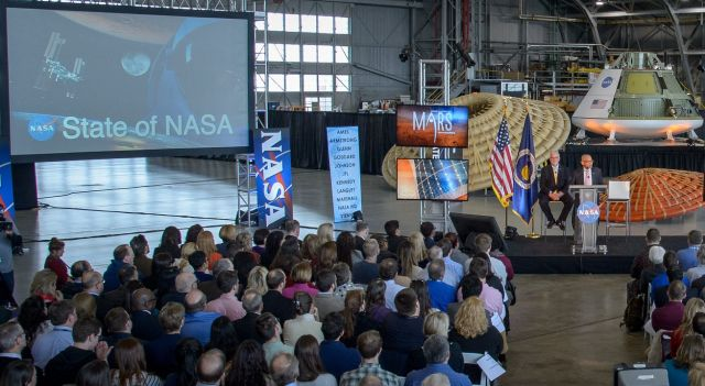 "NASA Administrator Charles Bolden delivers his ""State of NASA"" speech at Langley Research Center on Tuesday."