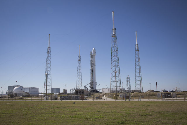 SpaceX's Falcon 9 and the SES-9 satellite are on the launch pad, and ready to go.