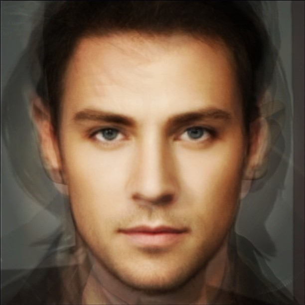 A composite face averaged from nine men.