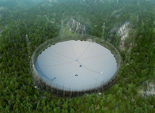 A rendering of the Five-hundred-meter Aperture Spherical Telescope, or FAST, which is now nearly complete.
