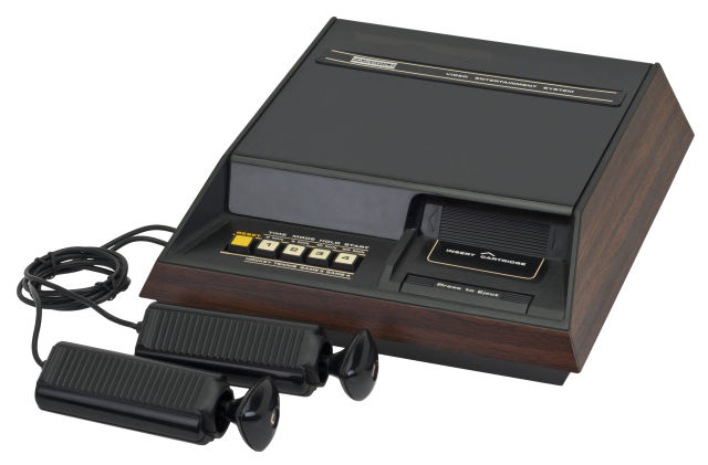 The Fairchild Channel F with hard-wired controllers, released in 1976.