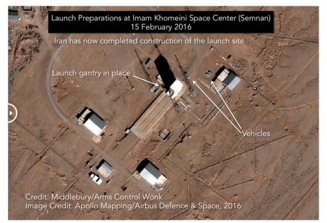 "A recent satellite image of Imam Khomeni Space Center shows that the launch gantry for a Simorgh ""satellite launching vehicle"" is in position for fueling and launch of the rocket."