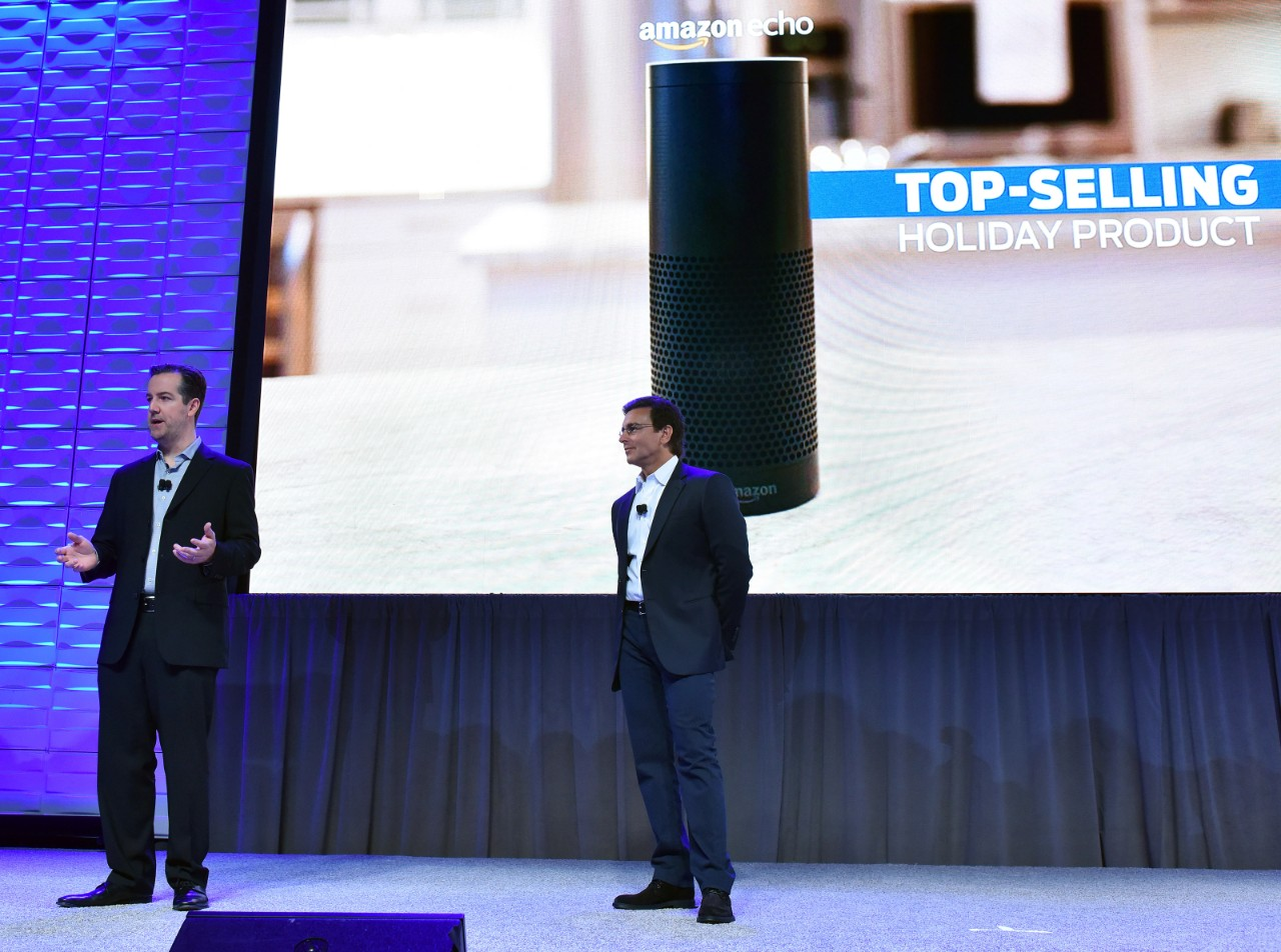Mark Fields (right), president and CEO of Ford Motor Company and Greg Hart, vice president of Amazon Echo and Alexa Voice Services, at CES this year.
