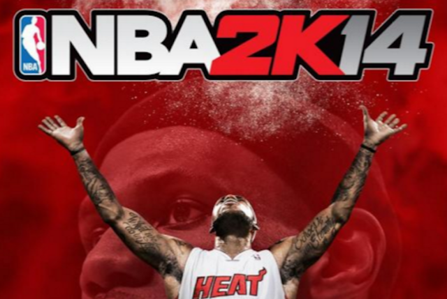 LeBron James in full tattoo glory on the cover of NBA2K14.