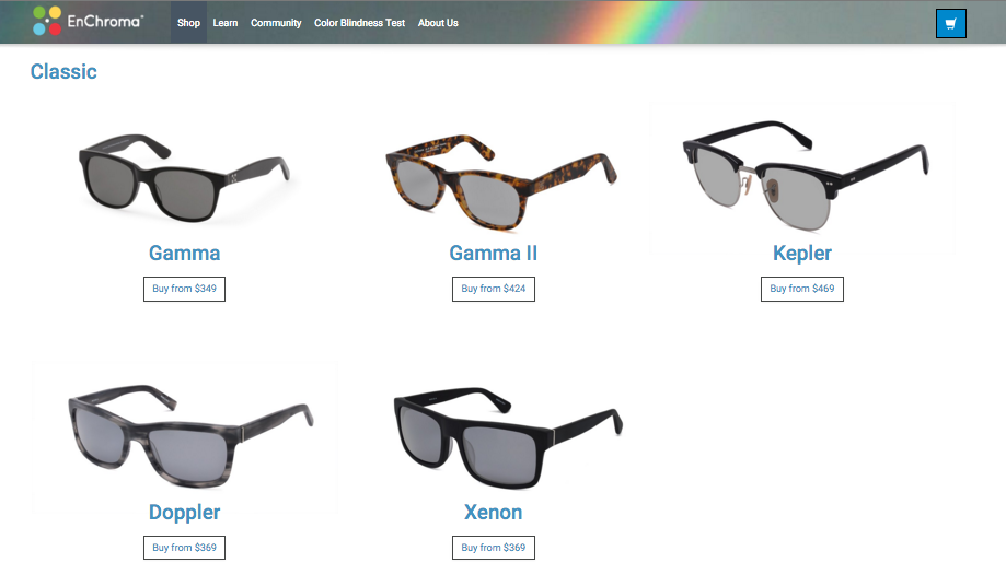 "A sampling of the frame styles at EnChroma. See the <a href=""http://enchroma.com/specs/"">technical specs here</a>."