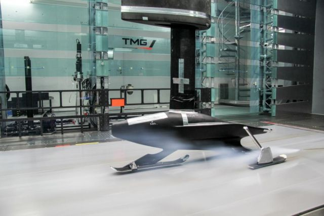 A 50-percent model of Snowspeed in Toyota Motorsport's wind tunnel.