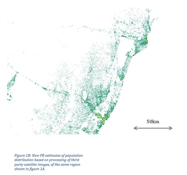 Анализ плотности населения прибрежных районов Кении на основе спутниковых снимков обрабатывается Connectivity Labs Facebook, и Центра международной научной информации Земли. Данные могут быть использованы для определения, какой тип беспроводной сети будет наиболее эффективным для достижения людей в недостаточно обслуживаемых районах.