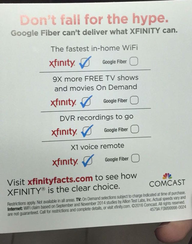 Comcast is mailing this flyer to Atlanta residents.