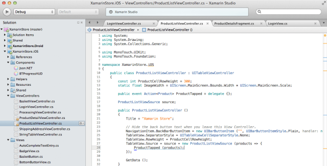 Xamarin Studio, Xamarin's development environment.