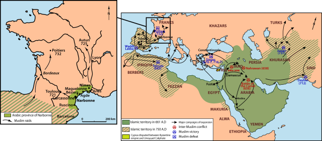 Map of the Arab empire during the period when the people in these graves were likely alive.