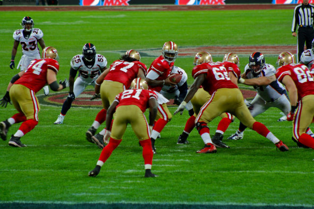 The San Francisco 49ers take on the Denver Broncos in action from a 2010 game in London.
