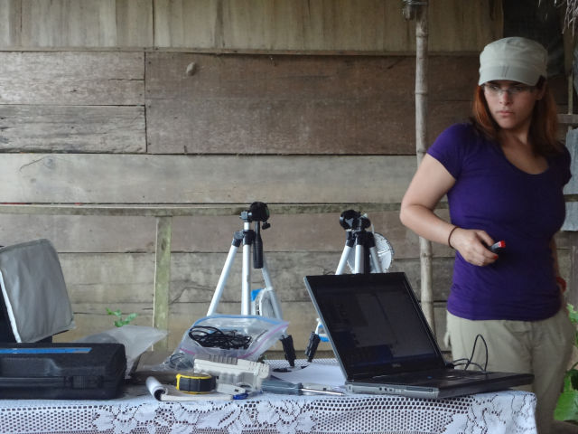 Researcher Jean F. Ruiz-Calderon, collecting environmental data.