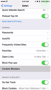 <em>The New York Times</em>' recent guide to smartphone battery life tweaks included an animated GIF teaching readers how to enable third-party ad-blocking software within iOS 9. This image was taken from the GIF.
